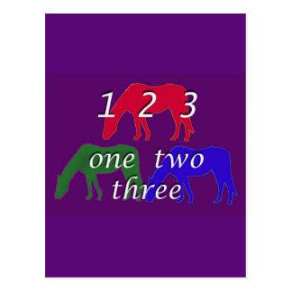 Child Birthday  Card with Three Horses Postcard