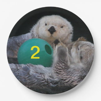 Child Birthday Sea Otters Photo Paper Plate