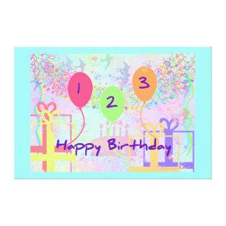 Child Birthday Three Years Old - Happy Birthday! Canvas Print