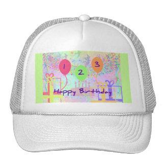 Child Birthday Three Years Old - Happy Birthday! Mesh Hats