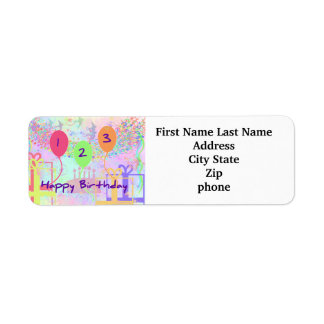 Child Birthday Three Years Old - Happy Birthday! Return Address Label