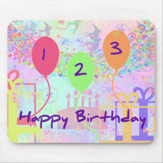 Child Birthday Three Years Old - Happy Birthday! Mouse Pad