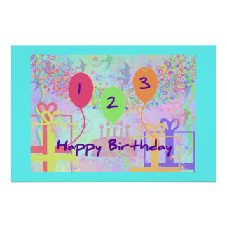 Child Birthday Three Years Old - Happy Birthday! Posters