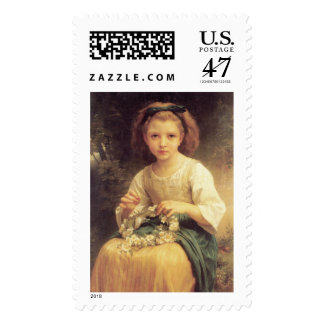 Child Braiding a Crown by W.A. Bouguereau Postage Stamp