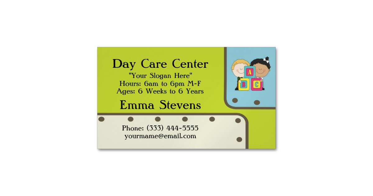 Child Care ABC Kids Business Card Magnet | Zazzle.com