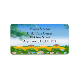 Child Care Baby Flowers Address Labels