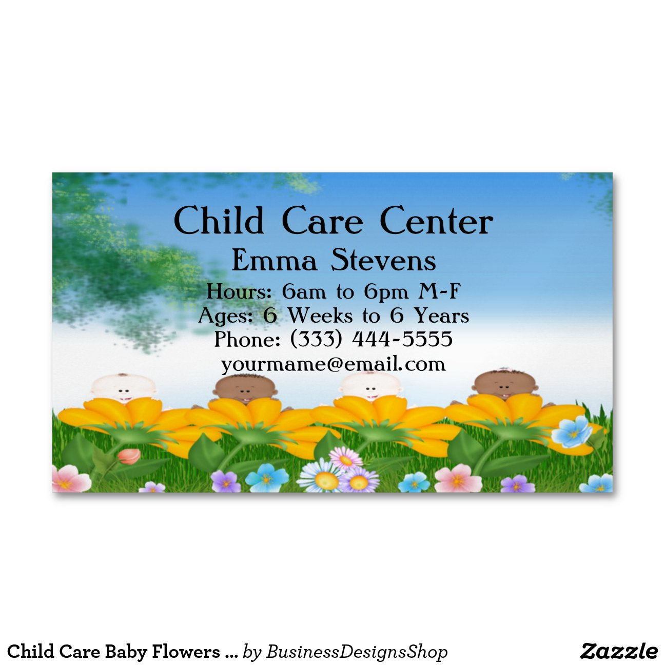 Child Care Baby Flowers Business Card Magnet Magnetic