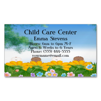Child Care Baby Flowers Business Card Magnet Magnetic Business Cards (Pack Of 25)