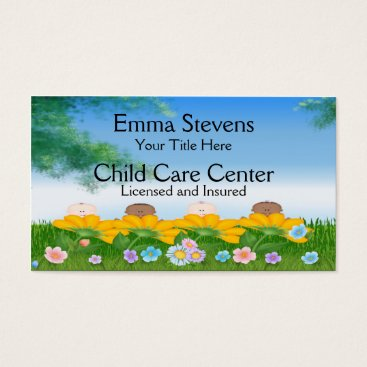 Professional Business Child Care Baby Flowers Business Card Template