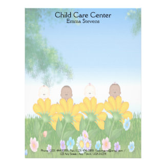 Child Care Baby Flowers Letterhead