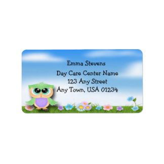 Child Care Baby Owl Address Labels