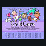 """Child Care.Babysitting.Day Care.Custom text/color Flyer<br><div class=""""desc"""">This absolutely adorable and utterly unique and customizable tear sheet flyer template will surely set you apart and make your service memorable. It features hand-painted little babies playing happily with a white bunny, brown puppy, colorful hearts and polka dots. Professionally hand drawn in a simple, spontaneous style. You can change...</div>"""