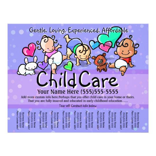 Child Care Babysitting Day Care Custom Text Color Flyer