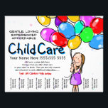 """Child Care. Babysitting. Day Care. Promo Flyer<br><div class=""""desc"""">This absolutely adorable and utterly unique and customizable tear sheet flyer template will surely set you apart and make your service memorable. It features hand-painted little girl with a huge bouquet of balloons. You can change all the text to really make this personal. Hang the up in your local library,...</div>"""