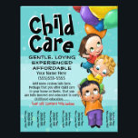 """Child Care. Babysitting. Day Care. Tear sheet<br><div class=""""desc"""">This absolutely adorable and utterly unique and customizable tear sheet flyer template will surely set you apart and make your service memorable. It features hand-painted children flying away with balloons. You can change all the text AND the background color to really make this personal.</div>"""
