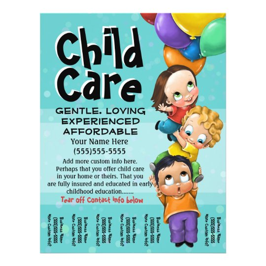 Child Care Babysitting Day Care Tear sheet Zazzle
