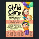 """Child Care. Babysitting. Day Care. Tear sheet<br><div class=""""desc"""">This absolutely adorable and utterly unique and customizable tear sheet flyer template will surely set you apart and make your service memorable. It features hand-painted children flying away with balloons. You can change all the text AND the background color to really make this personal. Or perhaps you prefer this design?...</div>"""