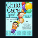 """Child Care. Day Care. 8x10 Custom Tear Sheet<br><div class=""""desc"""">Fully Customizable Child Care 8x10 Flyer is absolutely adorable and utterly unique. Professionally painted and designed. It features hand-painted children flying away with balloons. You can change all the text AND the background color to really make this personal. Hang on every bulletin board in your area! In the library, deli,...</div>"""