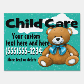 Child Care. Day Care. Bear. Customizable Lawn Sign