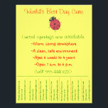"""Child care flyer / day care flyer w/ tear-off info<br><div class=""""desc"""">Playful but polished promotional flyer for child care,  featuring a child&#39;s artwork. Simply type in your info &amp; you&#39;re good to go! This vibrantly colored will stand out from the crowd,  wherever you post it. Another plus: Half the design proceeds go to kids&#39; charities.</div>"""