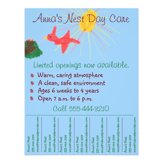 Child Care Flyer Day Care Flyer W Tear Off Info Zazzle