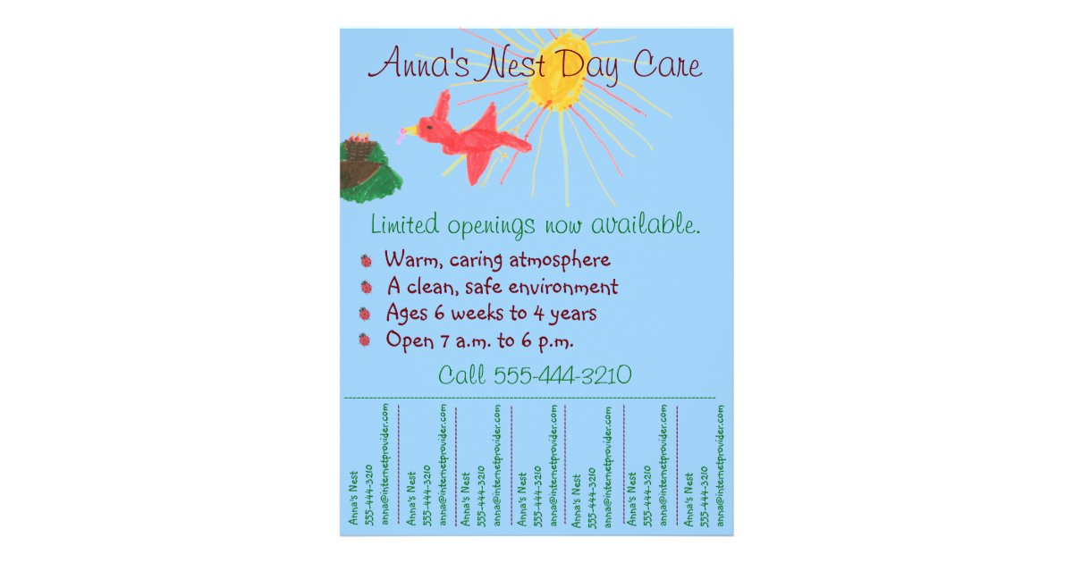 Child care flyer / day care flyer w/ tear-off info ...