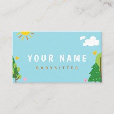 Child Care Nanny Babysitter Child Care Sunny Day  Business Card