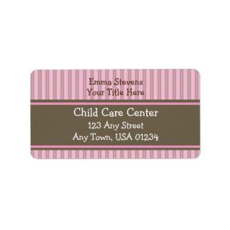 Child Care Pink Stripes, Brown Address Labels