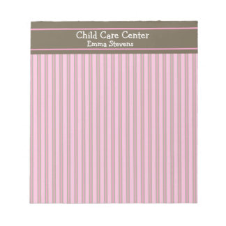 Child Care Pink Stripes, Brown Notepad