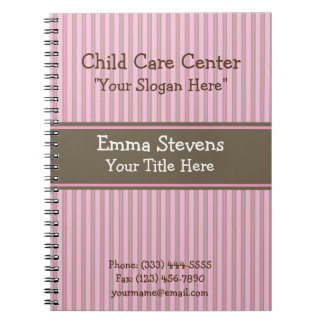 Child Care Pink Stripes, Brown Spiral Notebook