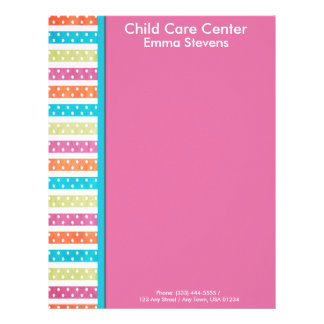 Child Care Pretty Lines and Dots Letterhead