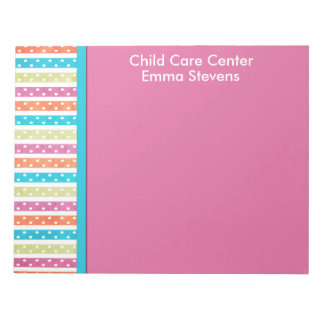 Child Care Pretty Lines and Dots Notepad