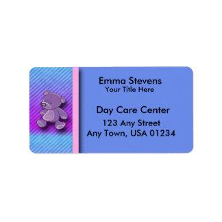 Child Care Purple Teddy Bear Address Labels
