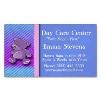 Child Care Purple Teddy Bear Business Card Magnet