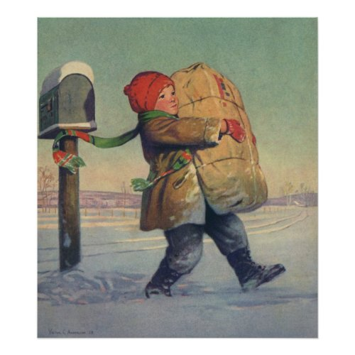 Child Carrying a Christmas Package from Mailbox Posters