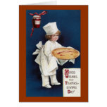Child Chef with Mince Pie Vintage Thanksgiving Card
