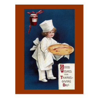 Child Chef with Mince Pie Vintage Thanksgiving Postcard