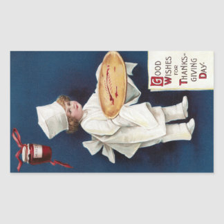 Child Chef with Mince Pie Vintage Thanksgiving Sticker
