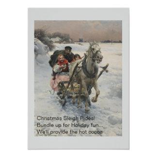 Child Driving a Horse Drawn Sleigh 5x7 Paper Invitation Card