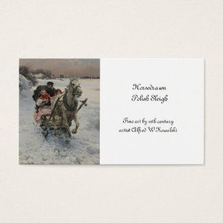 Child Driving a Horse Drawn Sleigh Business Card