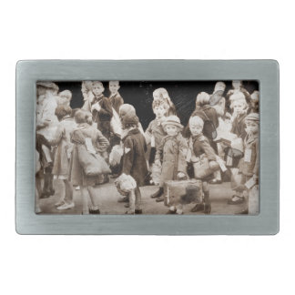 Child Evacuees with Suitcases Belt Buckle