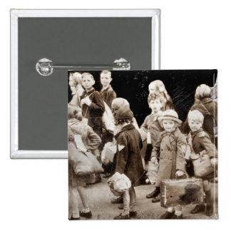 Child Evacuees with Suitcases Button