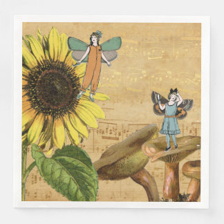 Child Fairies Sunflower and Mushrooms Paper Dinner Napkin