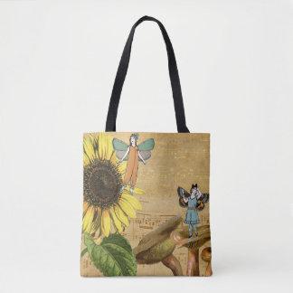 Child Fairies Sunflower and Mushrooms Tote Bag
