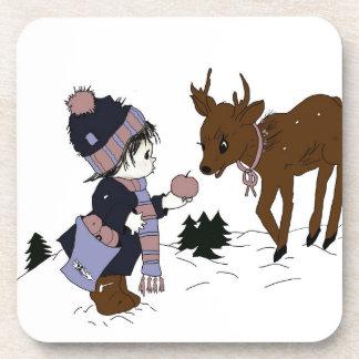 Child feeding reindeer beverage coaster