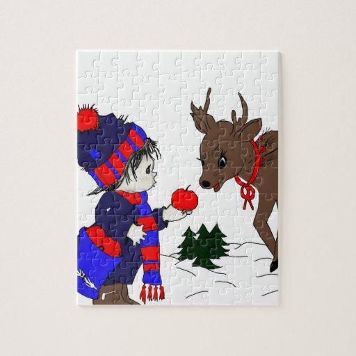 Child feeding reindeer puzzles