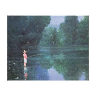 Child Fishing 1989 Canvas Print