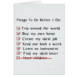 Child-Free Checklist Cards