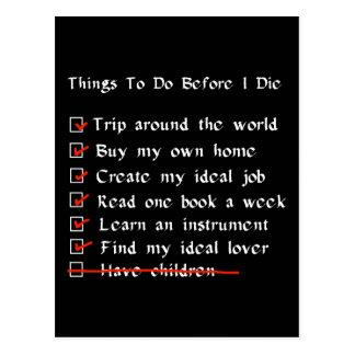 Child-Free Checklist Postcard