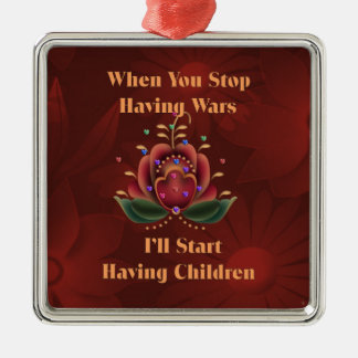 Child-Free Pacifist Metal Ornament